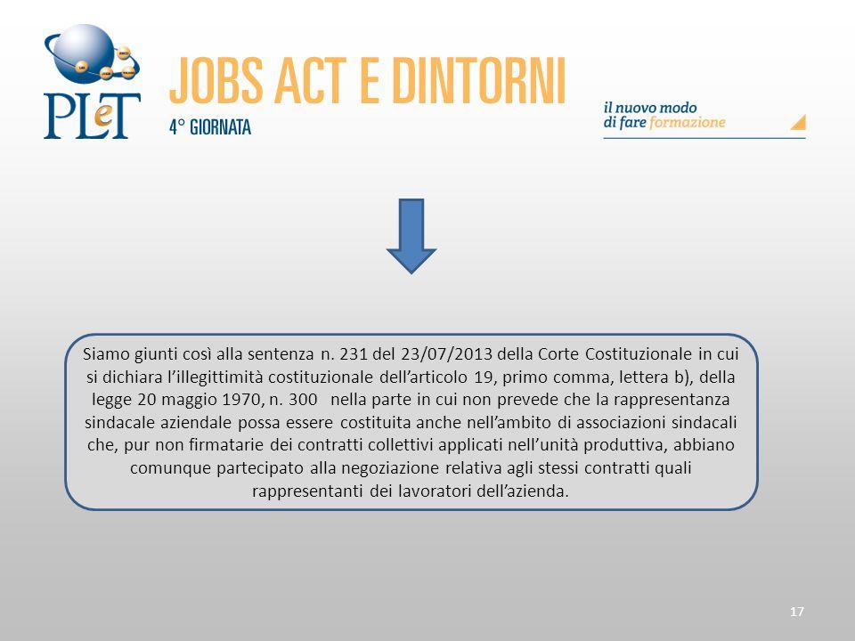 17 Siamo giunti così alla sentenza n. 231 del 23/07/2013 della Corte Costituzionale in cui si dichiara l'illegittimità costituzionale dell'articolo 19