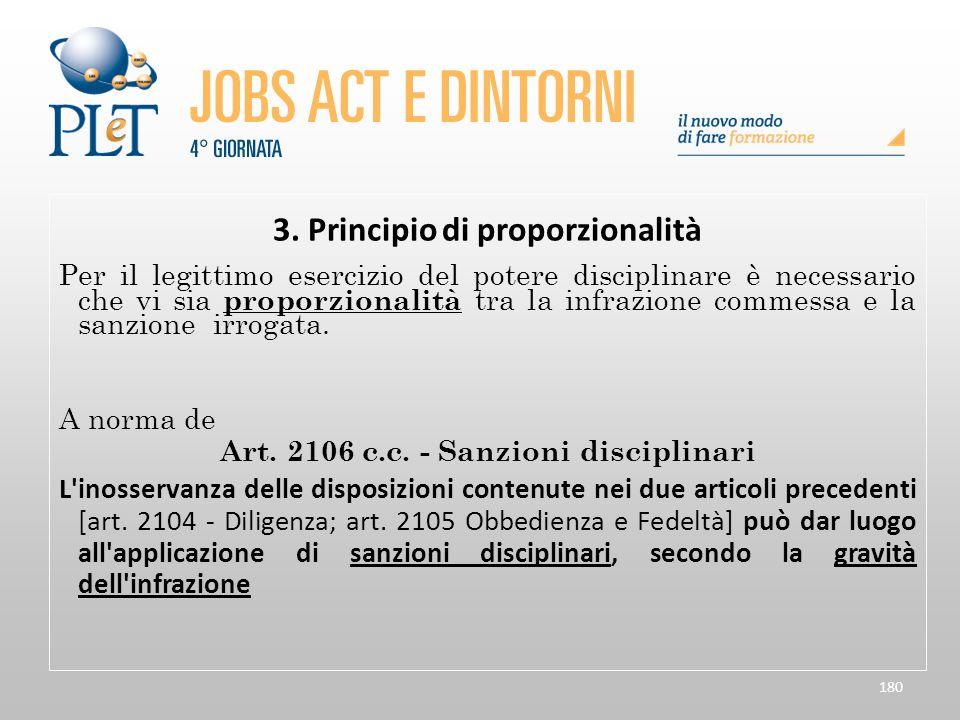 180 3. Principio di proporzionalità Per il legittimo esercizio del potere disciplinare è necessario che vi sia proporzionalità tra la infrazione comme