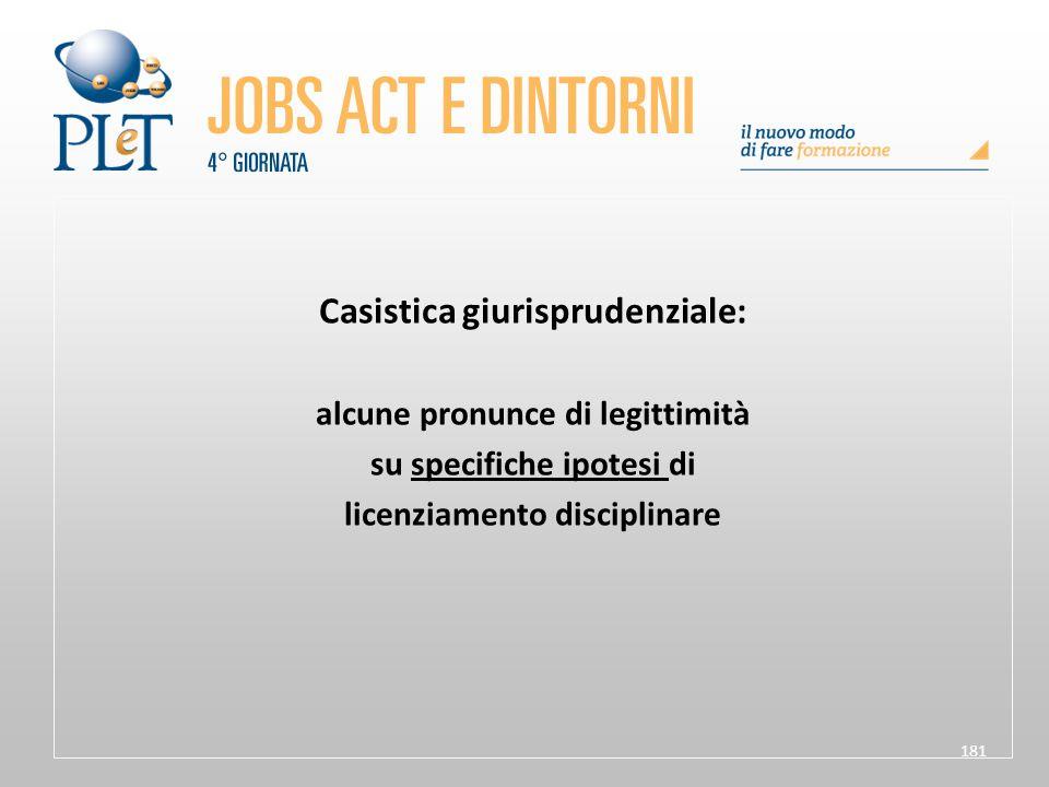 181 Casistica giurisprudenziale: alcune pronunce di legittimità su specifiche ipotesi di licenziamento disciplinare