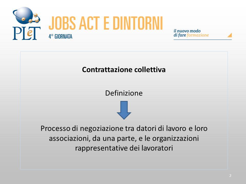 2 Contrattazione collettiva Definizione Processo di negoziazione tra datori di lavoro e loro associazioni, da una parte, e le organizzazioni rappresen