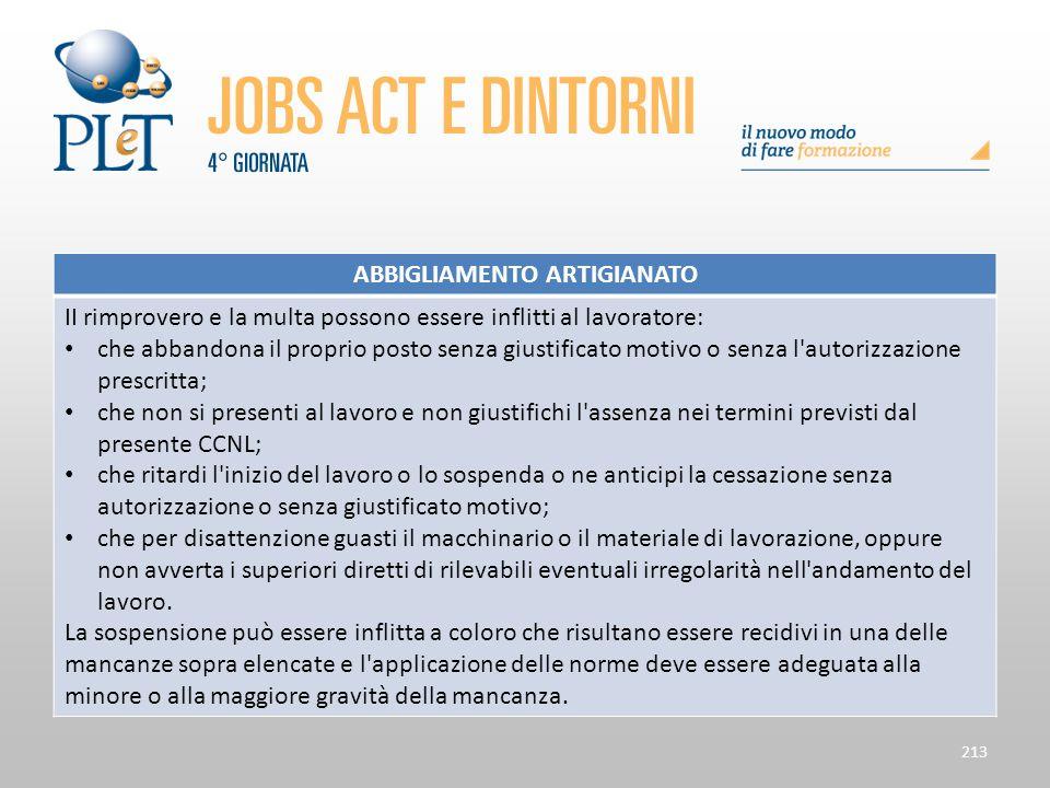 Contrattazione di prossimità e sue applicazioni 213 ABBIGLIAMENTO ARTIGIANATO II rimprovero e la multa possono essere inflitti al lavoratore: che abba