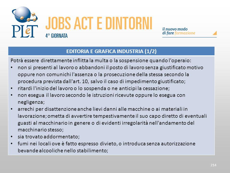 214 EDITORIA E GRAFICA INDUSTRIA (1/2) Potrà essere direttamente inflitta la multa o la sospensione quando l'operaio: non si presenti al lavoro o abba