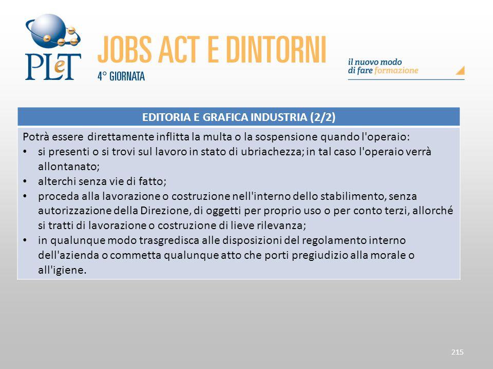 215 EDITORIA E GRAFICA INDUSTRIA (2/2) Potrà essere direttamente inflitta la multa o la sospensione quando l'operaio: si presenti o si trovi sul lavor