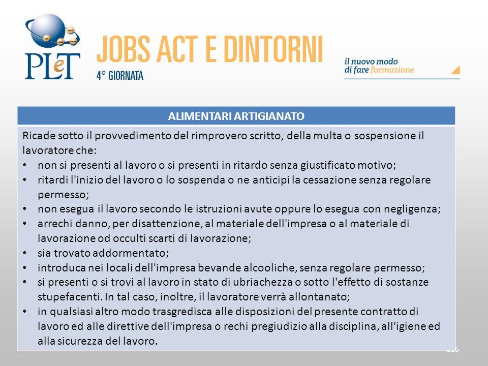216 ALIMENTARI ARTIGIANATO Ricade sotto il provvedimento del rimprovero scritto, della multa o sospensione il lavoratore che: non si presenti al lavor