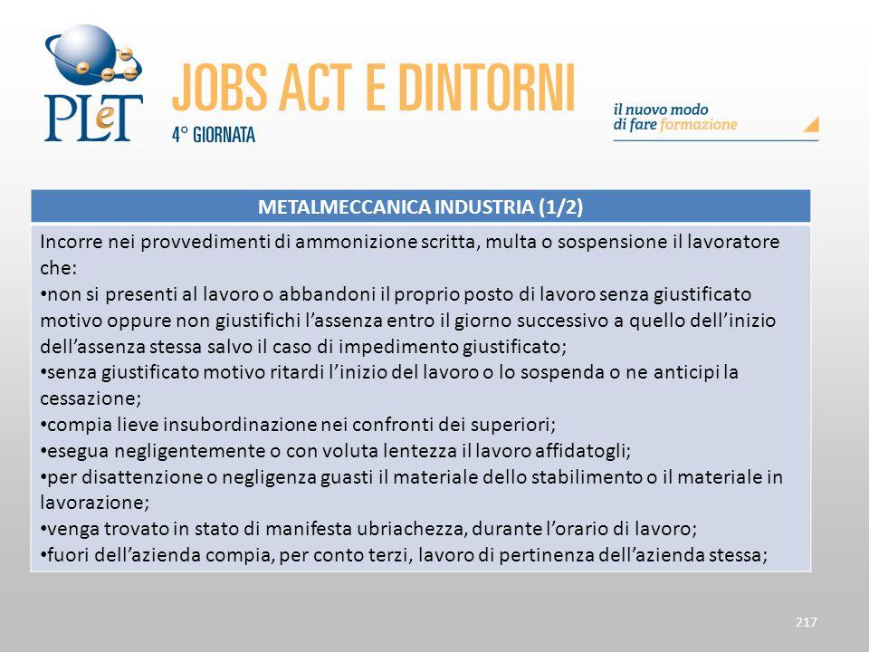 217 METALMECCANICA INDUSTRIA (1/2) Incorre nei provvedimenti di ammonizione scritta, multa o sospensione il lavoratore che: non si presenti al lavoro