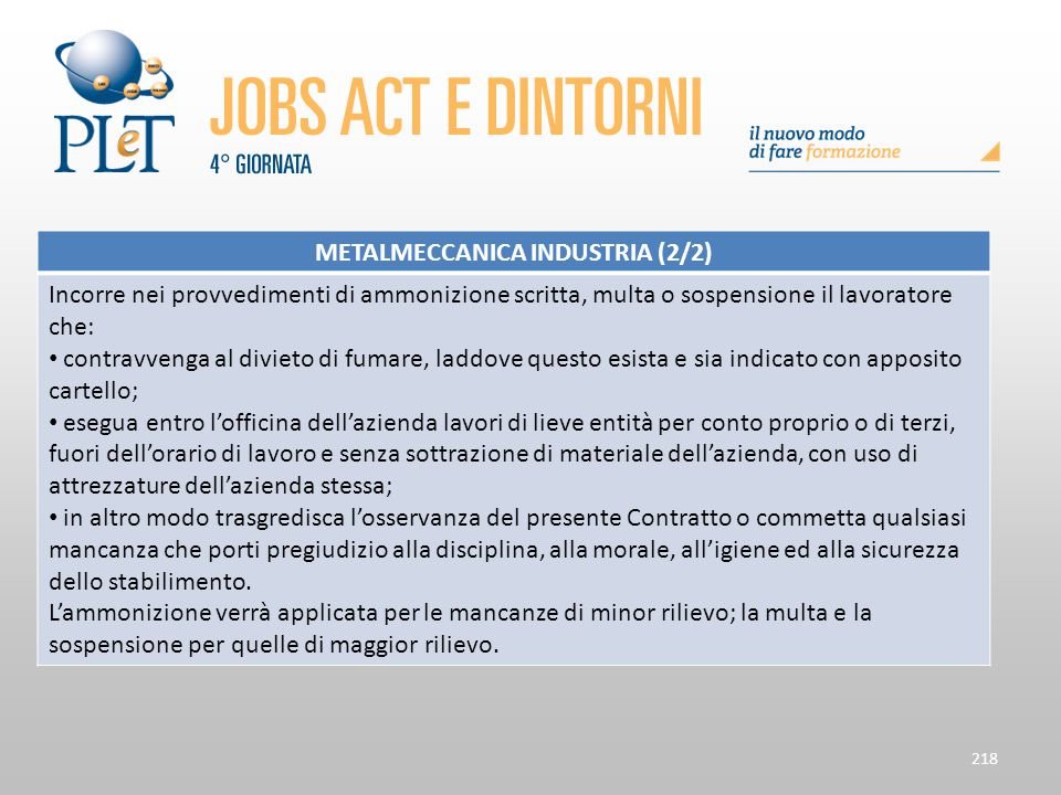 218 METALMECCANICA INDUSTRIA (2/2) Incorre nei provvedimenti di ammonizione scritta, multa o sospensione il lavoratore che: contravvenga al divieto di