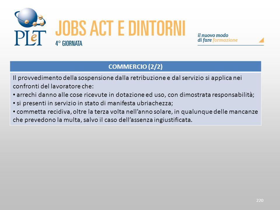 220 COMMERCIO (2/2) Il provvedimento della sospensione dalla retribuzione e dal servizio si applica nei confronti del lavoratore che: arrechi danno al