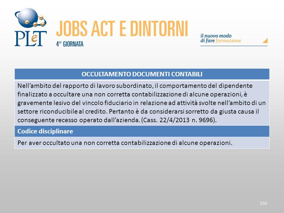 Contrattazione di prossimità e sue applicazioni 232 OCCULTAMENTO DOCUMENTI CONTABILI Nell'ambito del rapporto di lavoro subordinato, il comportamento