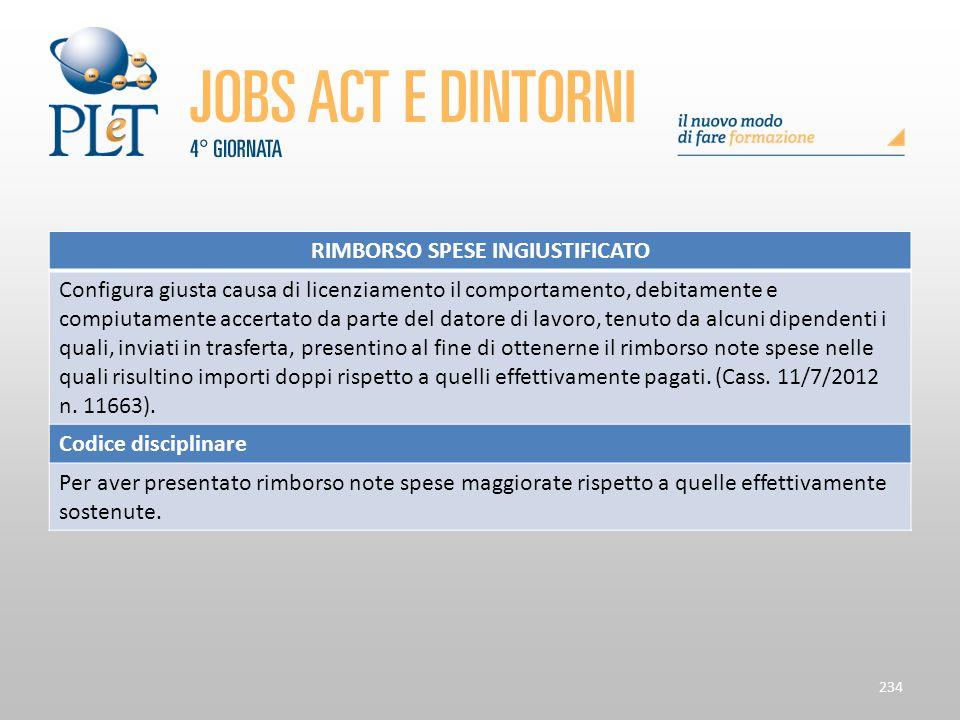 Contrattazione di prossimità e sue applicazioni 234 RIMBORSO SPESE INGIUSTIFICATO Configura giusta causa di licenziamento il comportamento, debitament