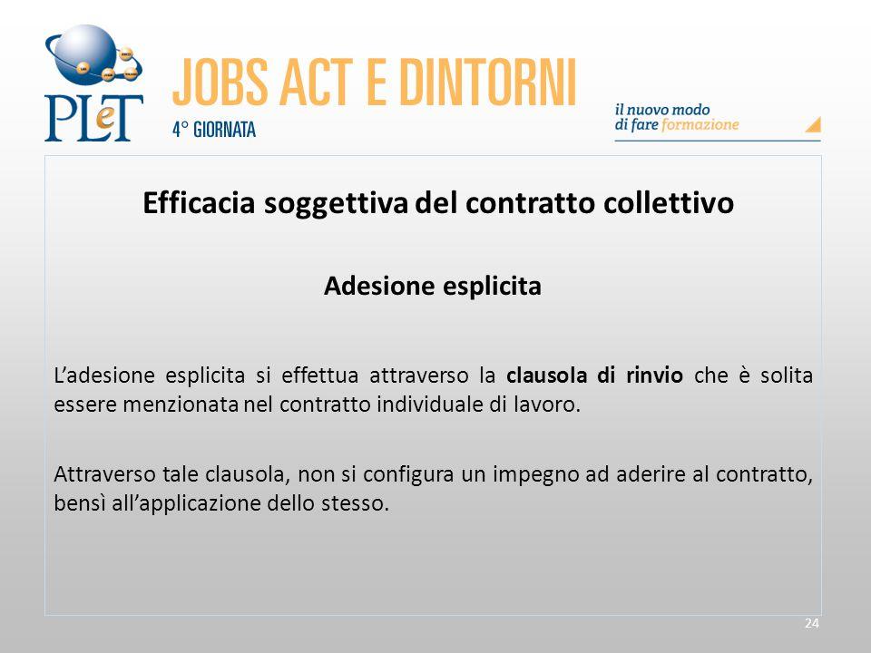 24 Efficacia soggettiva del contratto collettivo Adesione esplicita L'adesione esplicita si effettua attraverso la clausola di rinvio che è solita ess