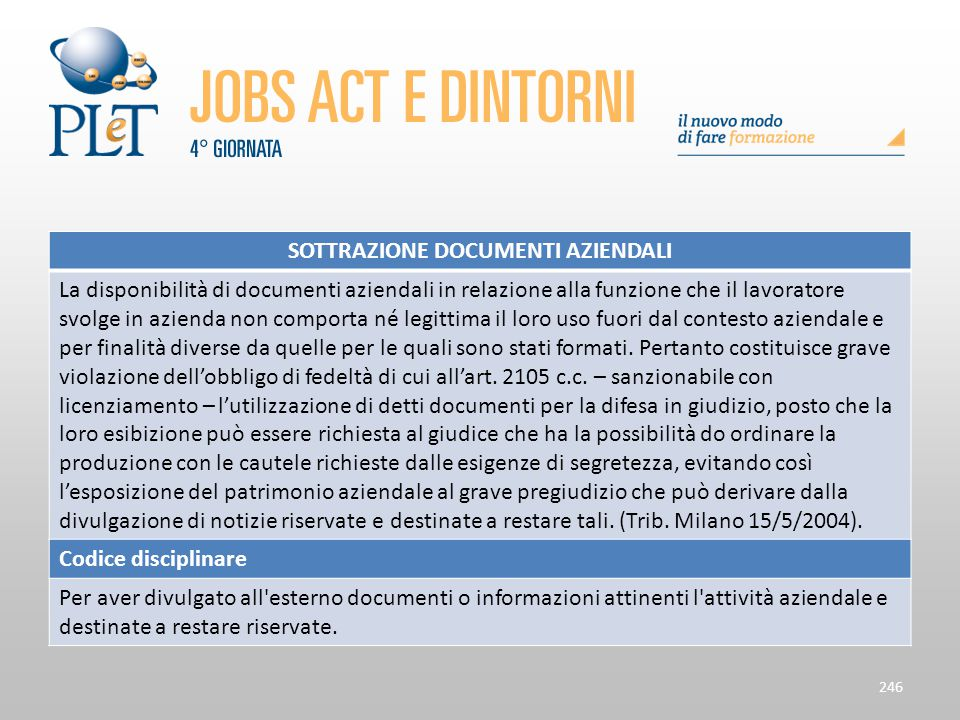 Contrattazione di prossimità e sue applicazioni 246 SOTTRAZIONE DOCUMENTI AZIENDALI La disponibilità di documenti aziendali in relazione alla funzione
