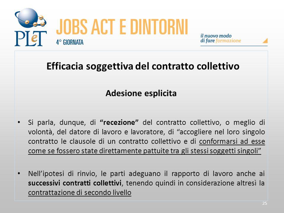 """25 Efficacia soggettiva del contratto collettivo Adesione esplicita Si parla, dunque, di """"recezione"""" del contratto collettivo, o meglio di volontà, de"""