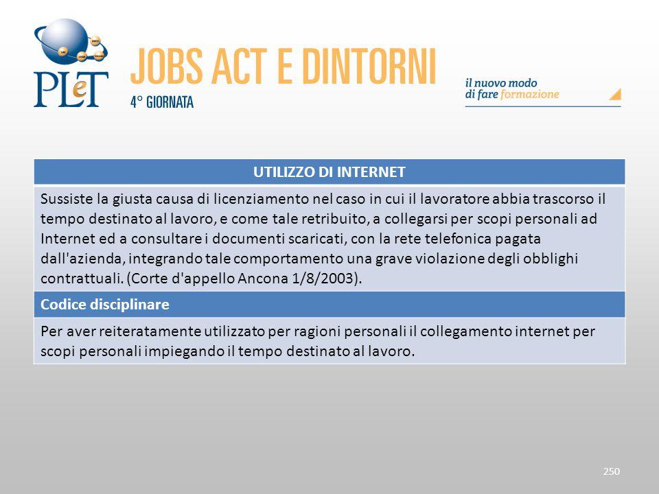 Contrattazione di prossimità e sue applicazioni 250 UTILIZZO DI INTERNET Sussiste la giusta causa di licenziamento nel caso in cui il lavoratore abbia
