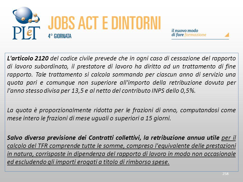 L'articolo 2120 del codice civile prevede che in ogni caso di cessazione del rapporto di lavoro subordinato, il prestatore di lavoro ha diritto ad un