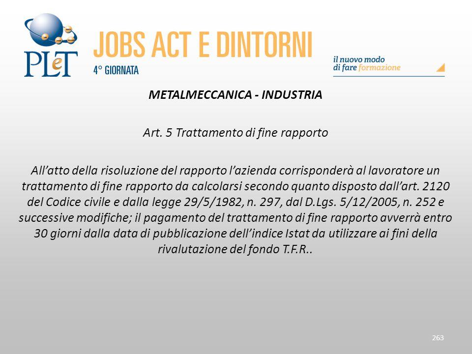 METALMECCANICA - INDUSTRIA Art. 5 Trattamento di fine rapporto All'atto della risoluzione del rapporto l'azienda corrisponderà al lavoratore un tratta