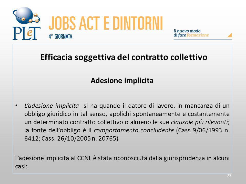 27 Efficacia soggettiva del contratto collettivo Adesione implicita L'adesione implicita si ha quando il datore di lavoro, in mancanza di un obbligo g