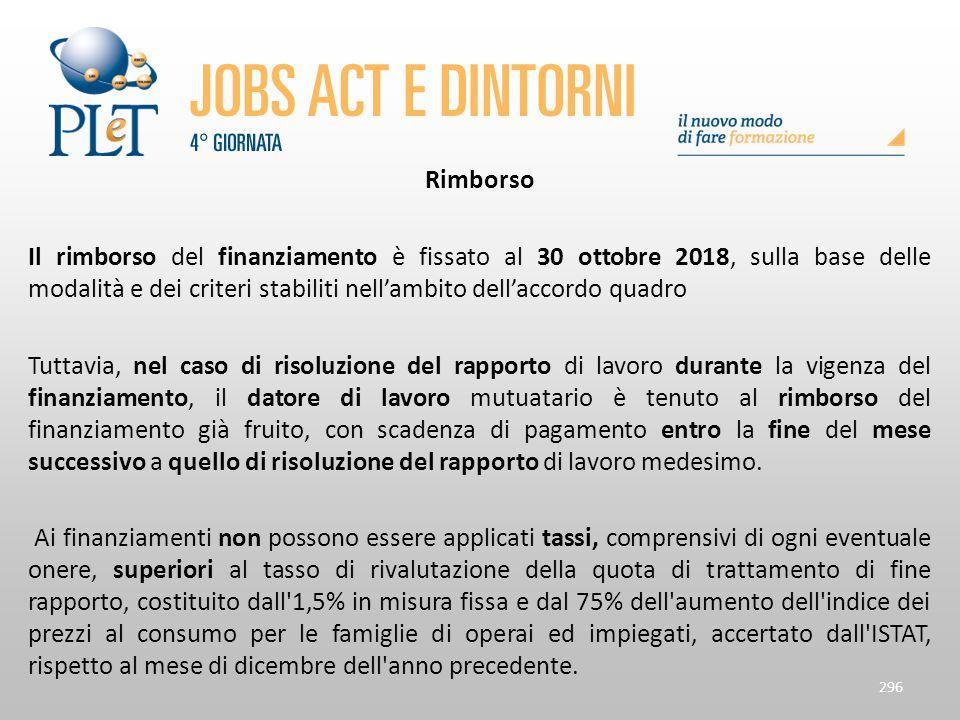 Rimborso Il rimborso del finanziamento è fissato al 30 ottobre 2018, sulla base delle modalità e dei criteri stabiliti nell'ambito dell'accordo quadro