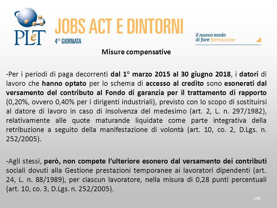 Misure compensative -Per i periodi di paga decorrenti dal 1° marzo 2015 al 30 giugno 2018, i datori di lavoro che hanno optato per lo schema di access