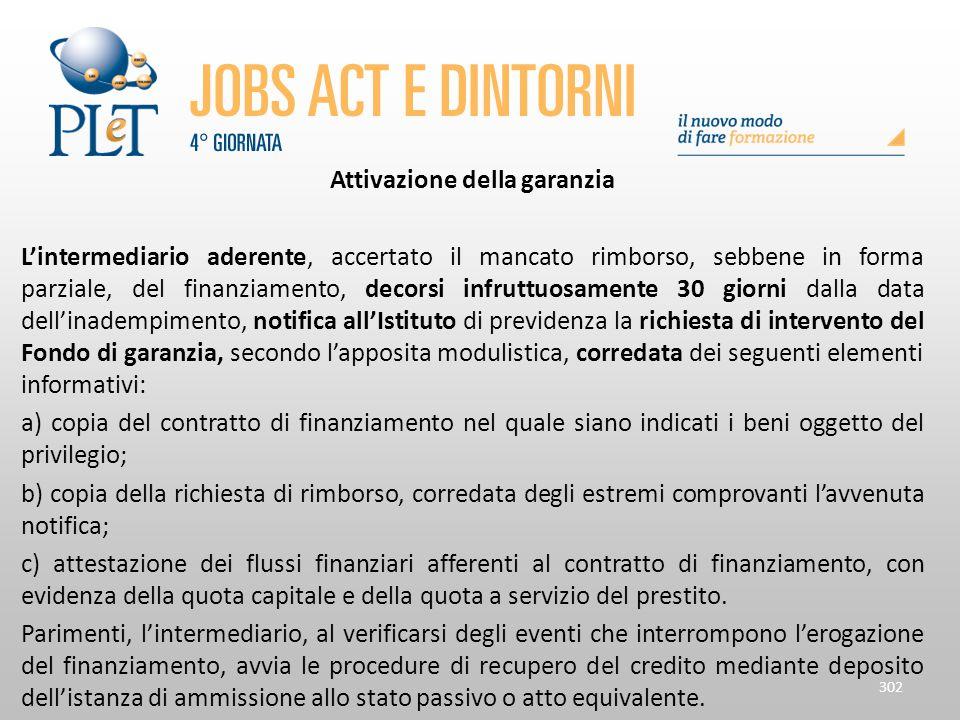 Attivazione della garanzia L'intermediario aderente, accertato il mancato rimborso, sebbene in forma parziale, del finanziamento, decorsi infruttuosam