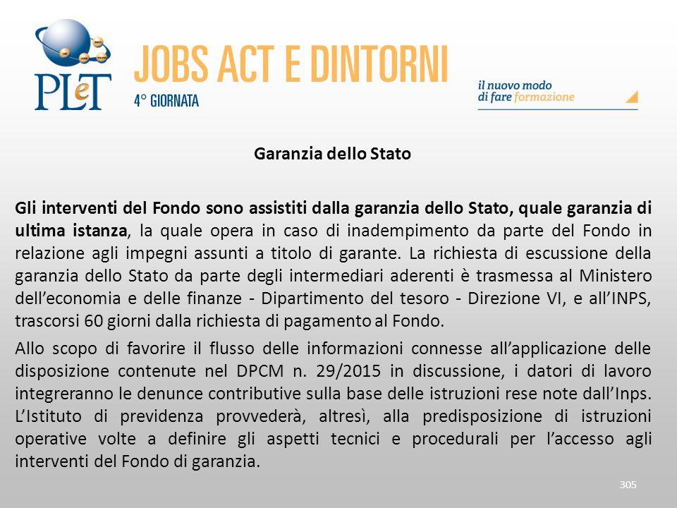 Garanzia dello Stato Gli interventi del Fondo sono assistiti dalla garanzia dello Stato, quale garanzia di ultima istanza, la quale opera in caso di i