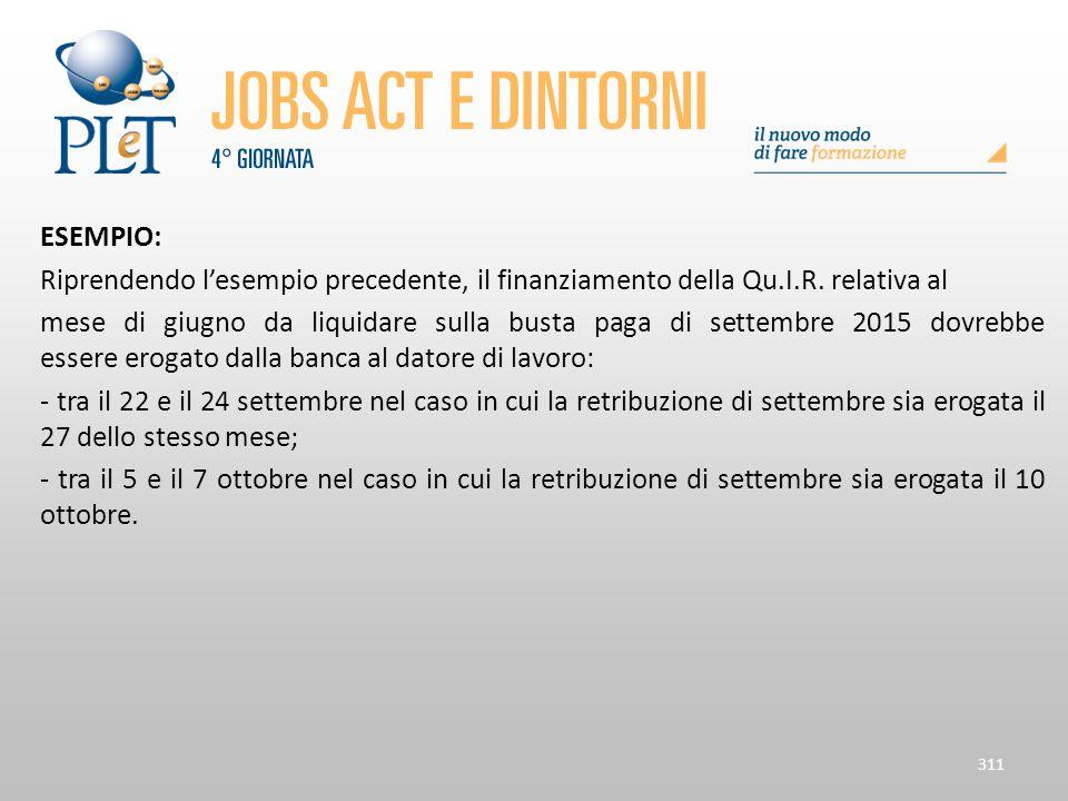 ESEMPIO: Riprendendo l'esempio precedente, il finanziamento della Qu.I.R. relativa al mese di giugno da liquidare sulla busta paga di settembre 2015 d