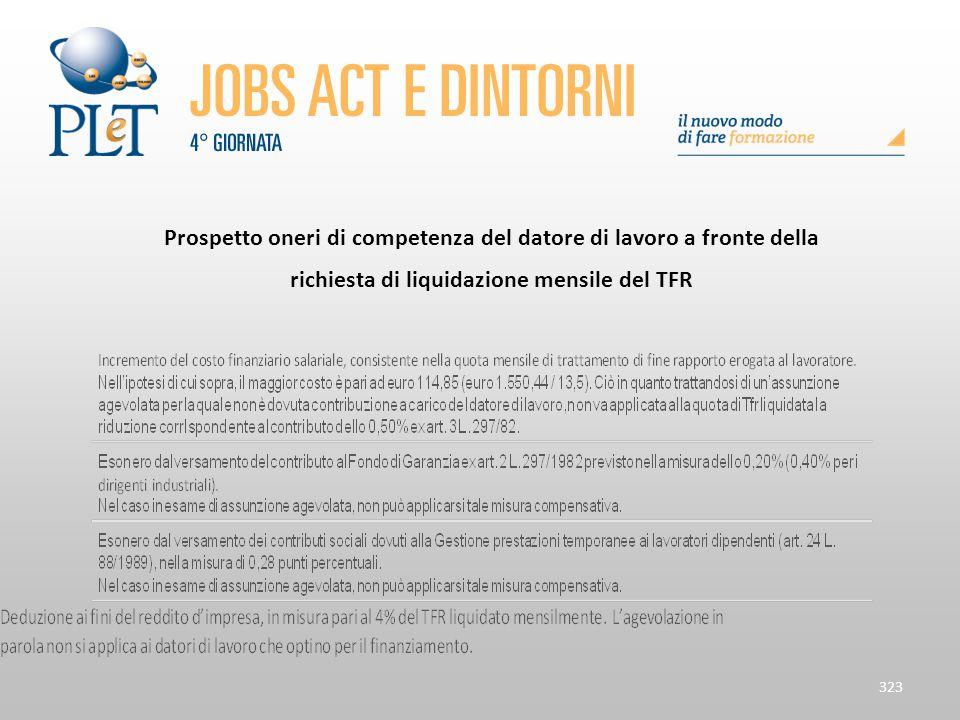 323 Prospetto oneri di competenza del datore di lavoro a fronte della richiesta di liquidazione mensile del TFR