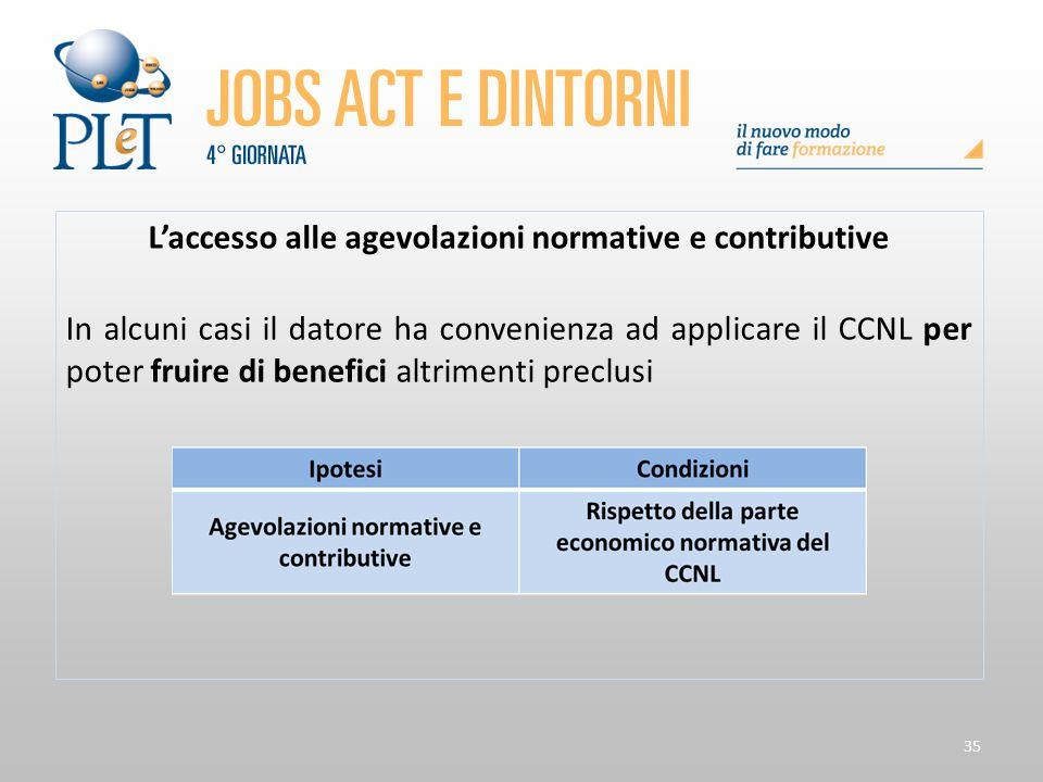 35 L'accesso alle agevolazioni normative e contributive In alcuni casi il datore ha convenienza ad applicare il CCNL per poter fruire di benefici altr