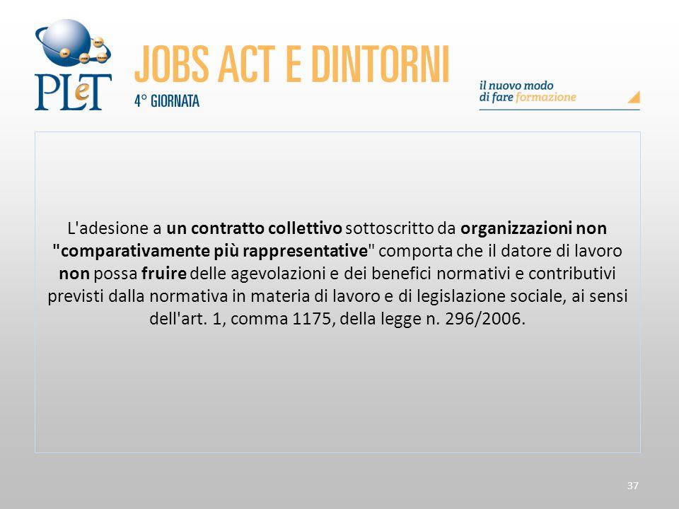 37 L'adesione a un contratto collettivo sottoscritto da organizzazioni non