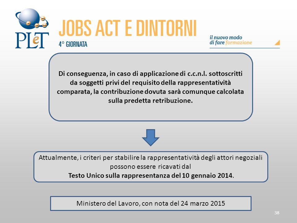 38 Di conseguenza, in caso di applicazione di c.c.n.l. sottoscritti da soggetti privi del requisito della rappresentatività comparata, la contribuzion