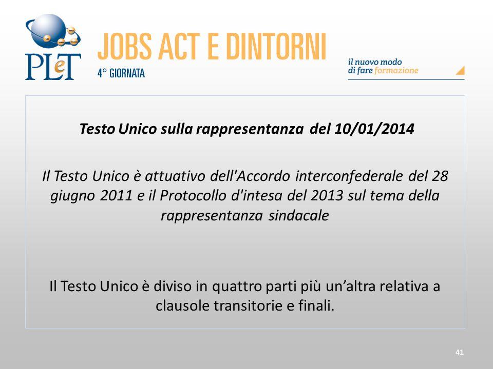 41 Testo Unico sulla rappresentanza del 10/01/2014 Il Testo Unico è attuativo dell'Accordo interconfederale del 28 giugno 2011 e il Protocollo d'intes