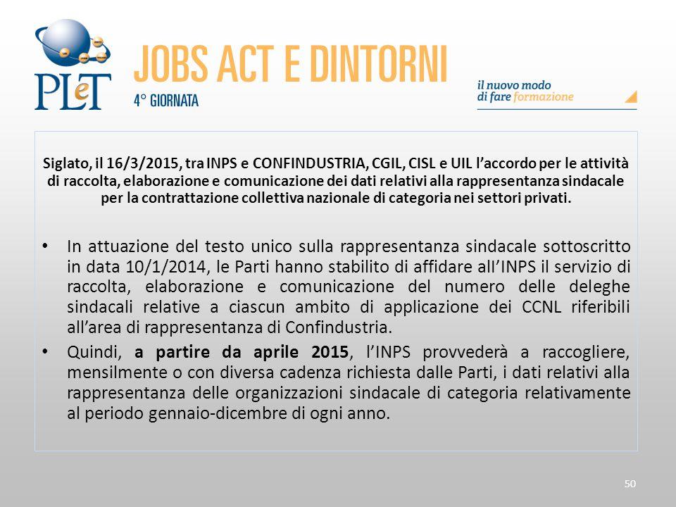50 Siglato, il 16/3/2015, tra INPS e CONFINDUSTRIA, CGIL, CISL e UIL l'accordo per le attività di raccolta, elaborazione e comunicazione dei dati rela