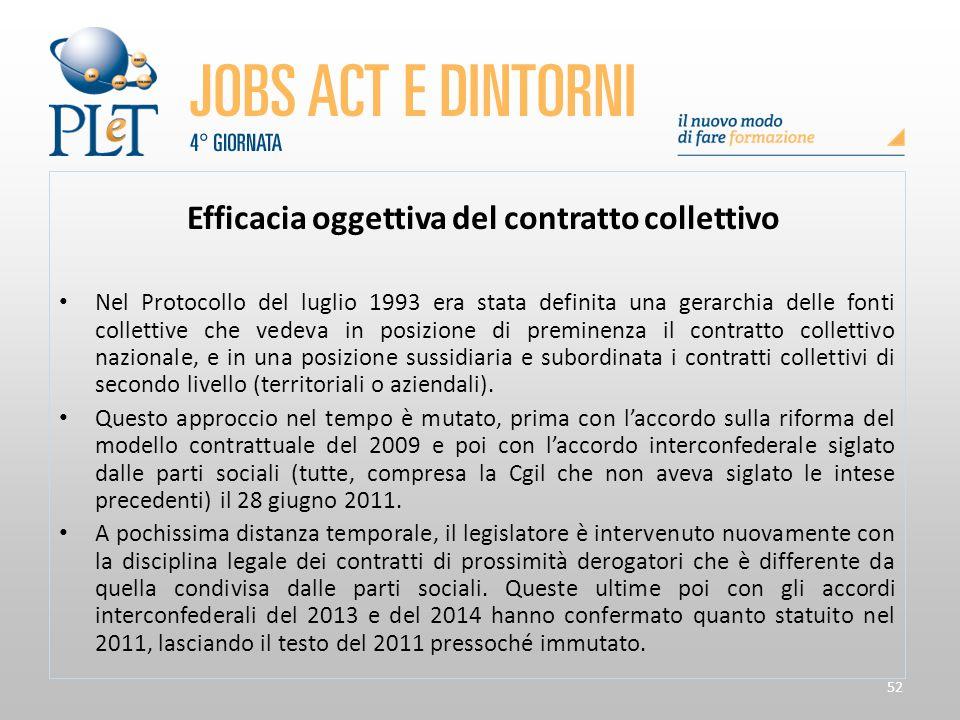 52 Efficacia oggettiva del contratto collettivo Nel Protocollo del luglio 1993 era stata definita una gerarchia delle fonti collettive che vedeva in p