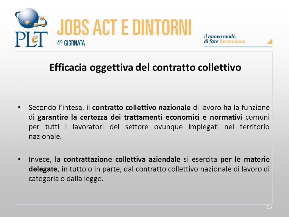 53 Efficacia oggettiva del contratto collettivo Secondo l'intesa, il contratto collettivo nazionale di lavoro ha la funzione di garantire la certezza