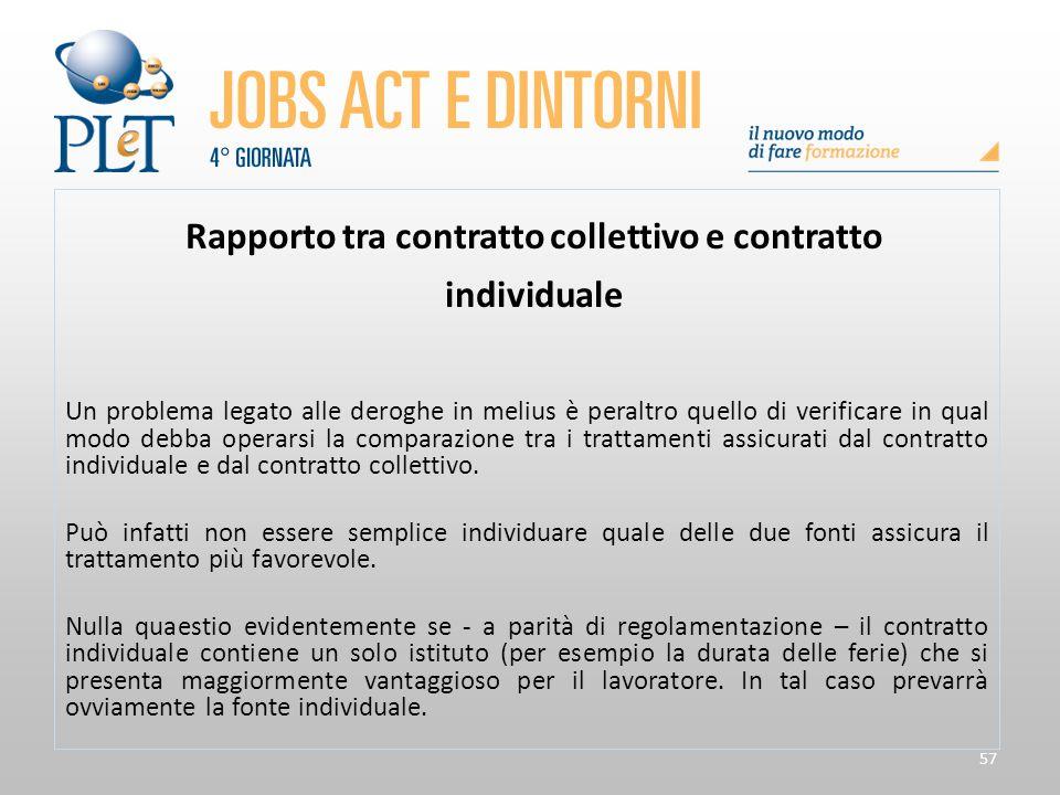 57 Rapporto tra contratto collettivo e contratto individuale Un problema legato alle deroghe in melius è peraltro quello di verificare in qual modo de