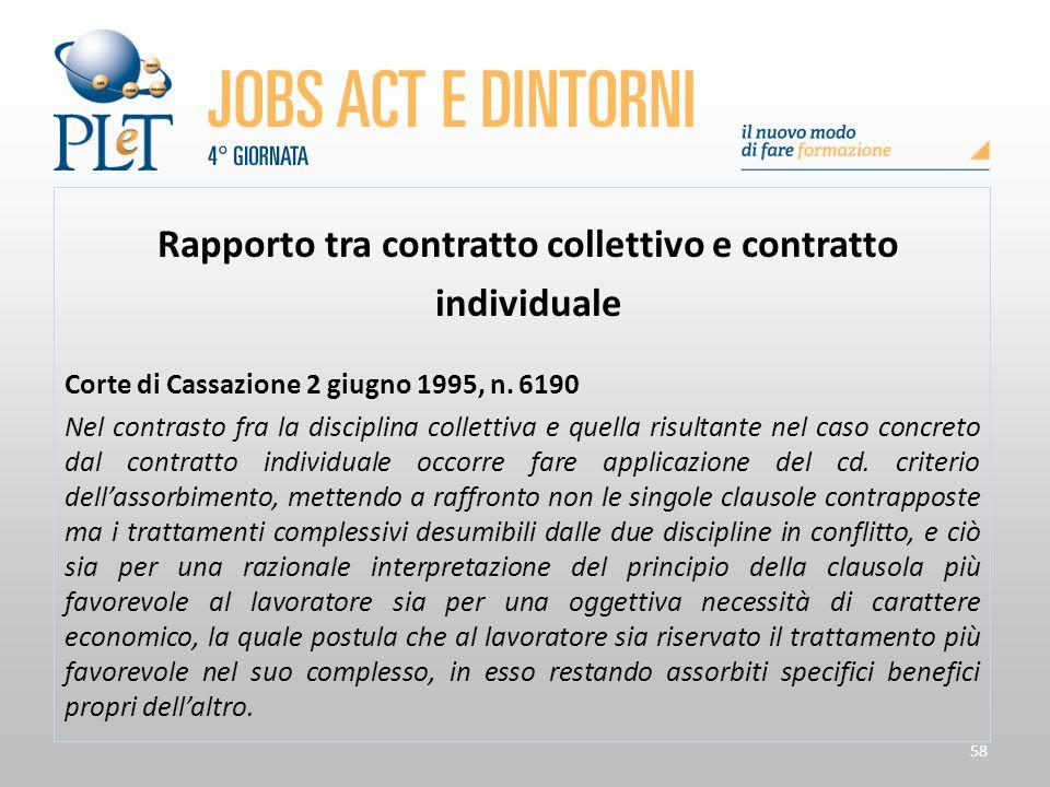 58 Rapporto tra contratto collettivo e contratto individuale Corte di Cassazione 2 giugno 1995, n. 6190 Nel contrasto fra la disciplina collettiva e q