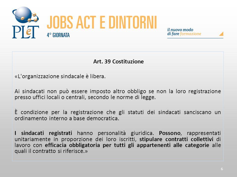 6 Art. 39 Costituzione «L'organizzazione sindacale è libera. Ai sindacati non può essere imposto altro obbligo se non la loro registrazione presso uff