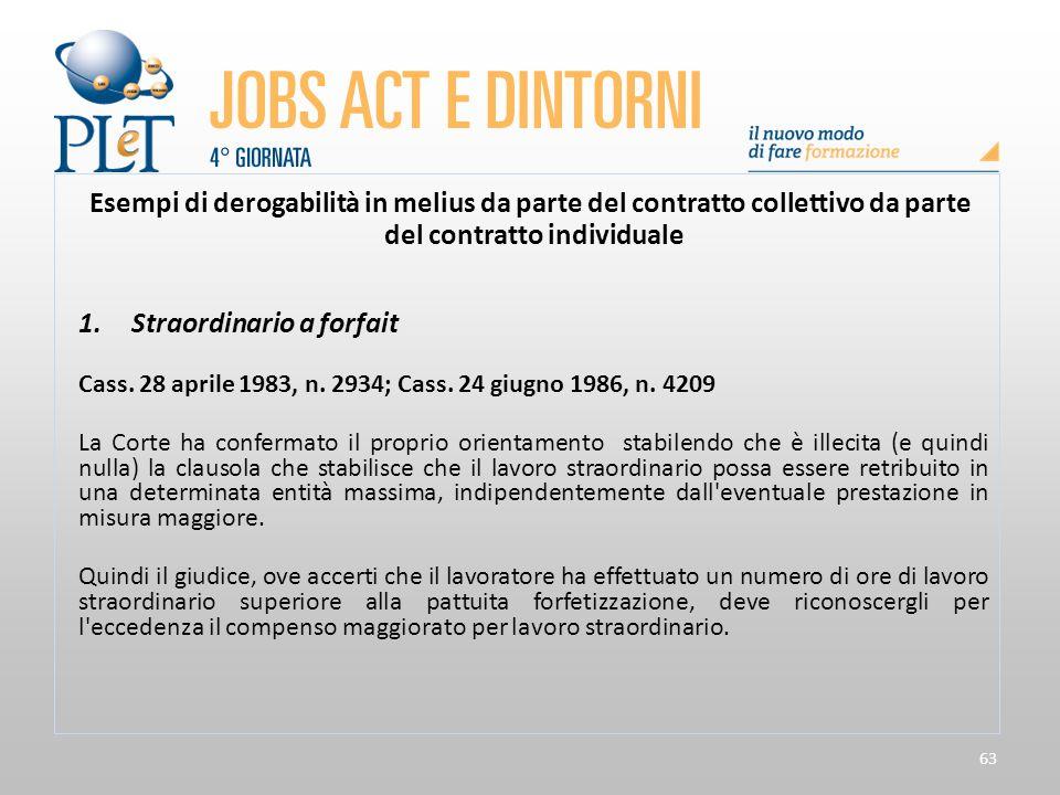 63 Esempi di derogabilità in melius da parte del contratto collettivo da parte del contratto individuale 1.Straordinario a forfait Cass. 28 aprile 198
