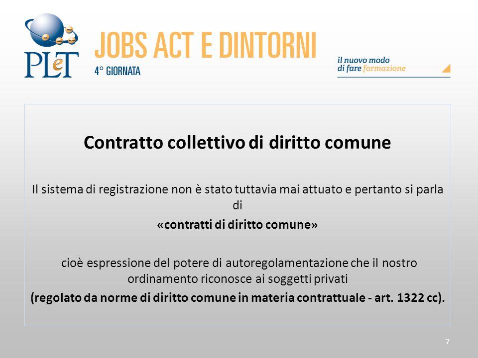 7 Contratto collettivo di diritto comune Il sistema di registrazione non è stato tuttavia mai attuato e pertanto si parla di «contratti di diritto com