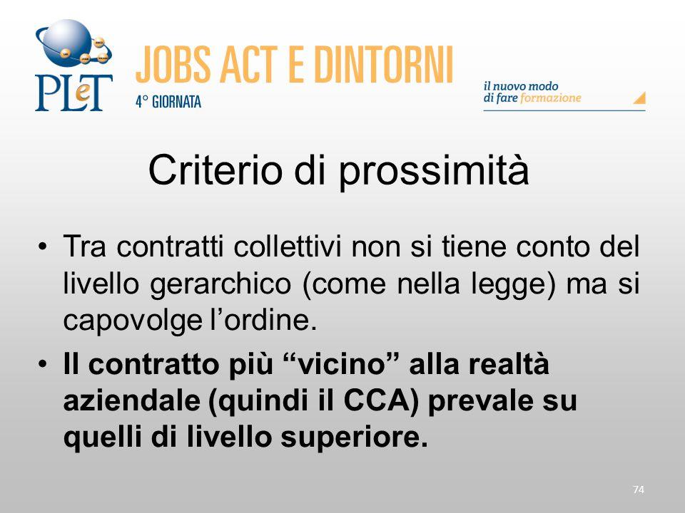 74 Criterio di prossimità Tra contratti collettivi non si tiene conto del livello gerarchico (come nella legge) ma si capovolge l'ordine. Il contratto