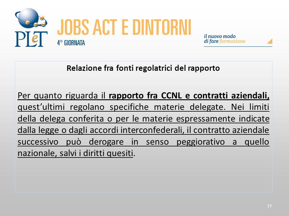 77 Relazione fra fonti regolatrici del rapporto Per quanto riguarda il rapporto fra CCNL e contratti aziendali, quest'ultimi regolano specifiche mater