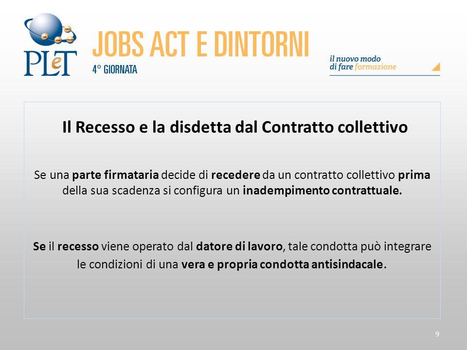 9 Il Recesso e la disdetta dal Contratto collettivo Se una parte firmataria decide di recedere da un contratto collettivo prima della sua scadenza si
