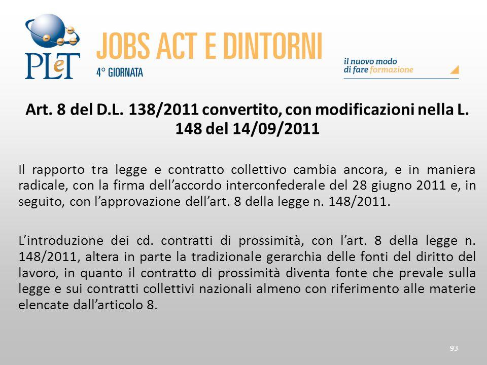 93 Art. 8 del D.L. 138/2011 convertito, con modificazioni nella L. 148 del 14/09/2011 Il rapporto tra legge e contratto collettivo cambia ancora, e in
