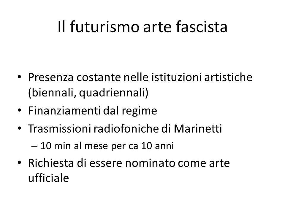 Il futurismo arte fascista Presenza costante nelle istituzioni artistiche (biennali, quadriennali) Finanziamenti dal regime Trasmissioni radiofoniche di Marinetti – 10 min al mese per ca 10 anni Richiesta di essere nominato come arte ufficiale
