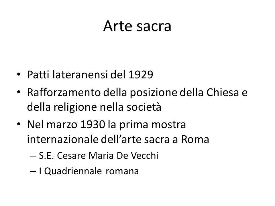 Arte sacra Patti lateranensi del 1929 Rafforzamento della posizione della Chiesa e della religione nella società Nel marzo 1930 la prima mostra internazionale dell'arte sacra a Roma – S.E.