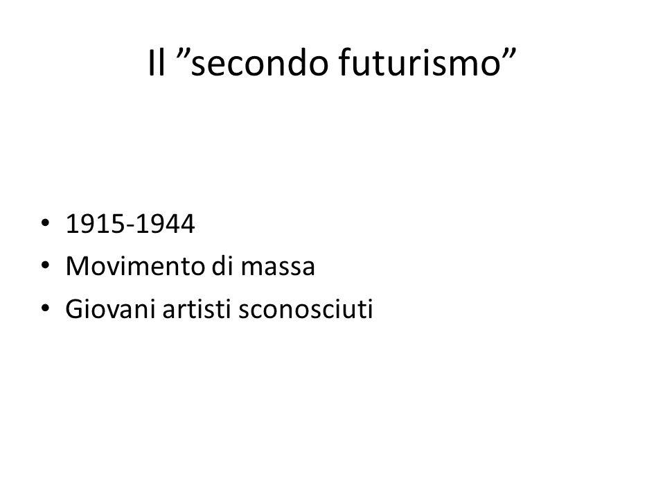 """Il """"secondo futurismo"""" 1915-1944 Movimento di massa Giovani artisti sconosciuti"""