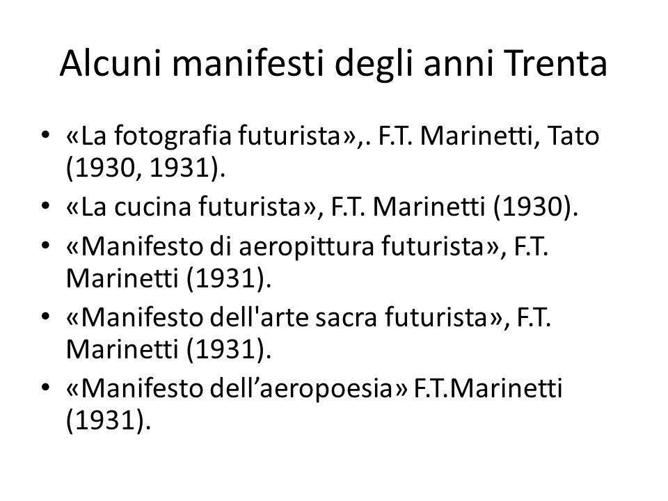 Alcuni manifesti degli anni Trenta «La fotografia futurista»,. F.T. Marinetti, Tato (1930, 1931). «La cucina futurista», F.T. Marinetti (1930). «Manif