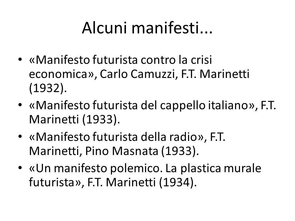 Alcuni manifesti... «Manifesto futurista contro la crisi economica», Carlo Camuzzi, F.T. Marinetti (1932). «Manifesto futurista del cappello italiano»