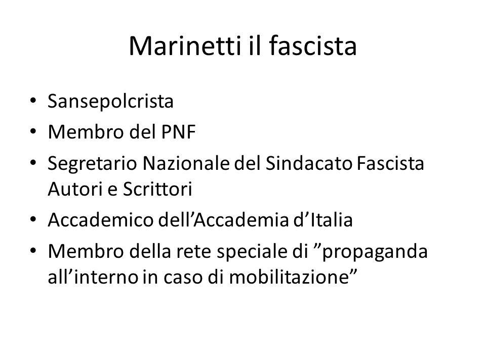 Il futurismo arte ufficiale del fascismo Polemica sul Futurismo Partecipazione alla fondazione del fascismo nel 1919 Il futurismo sintetizzava i valori e l'essenza del fascismo Il futurismo e il fascismo possedevano la stessa identità spirituale