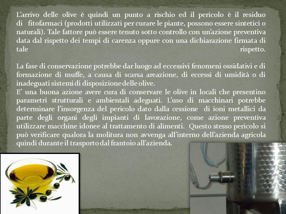 L'arrivo delle olive è quindi un punto a rischio ed il pericolo è il residuo di fitofarmaci (prodotti utilizzati per curare le piante, possono essere