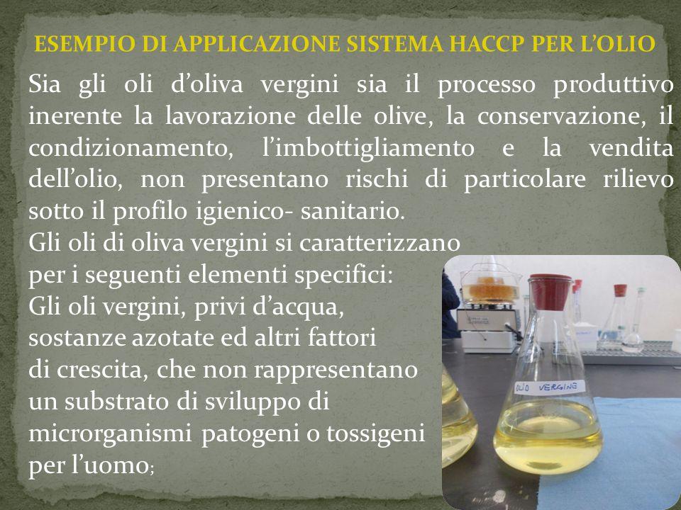 ESEMPIO DI APPLICAZIONE SISTEMA HACCP PER L'OLIO Sia gli oli d'oliva vergini sia il processo produttivo inerente la lavorazione delle olive, la conser
